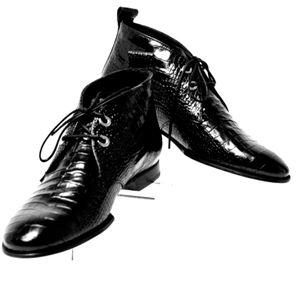 RAG & BONE BOOTIES BLACK CROCO ANKLE BOOTS NIB